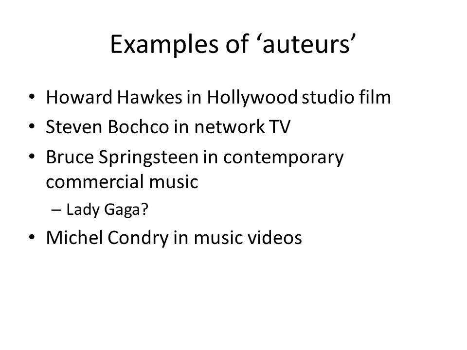 Examples of 'auteurs' Howard Hawkes in Hollywood studio film