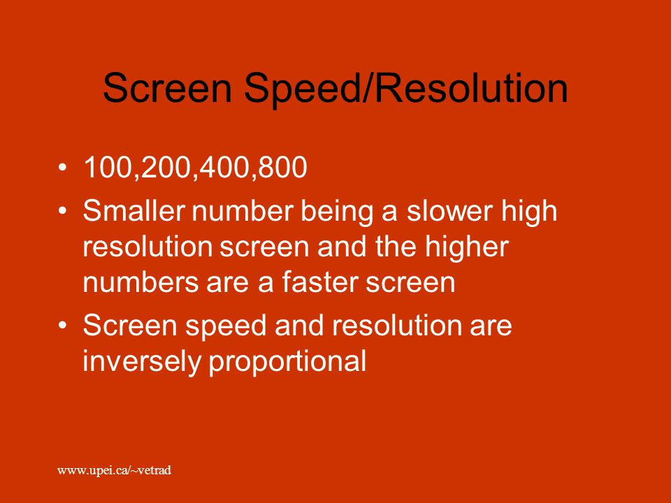 Screen Speed/Resolution
