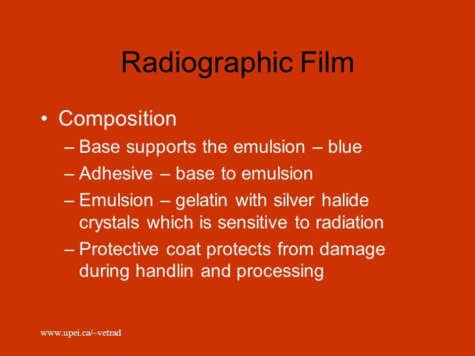 Radiographic Film Composition Base supports the emulsion – blue