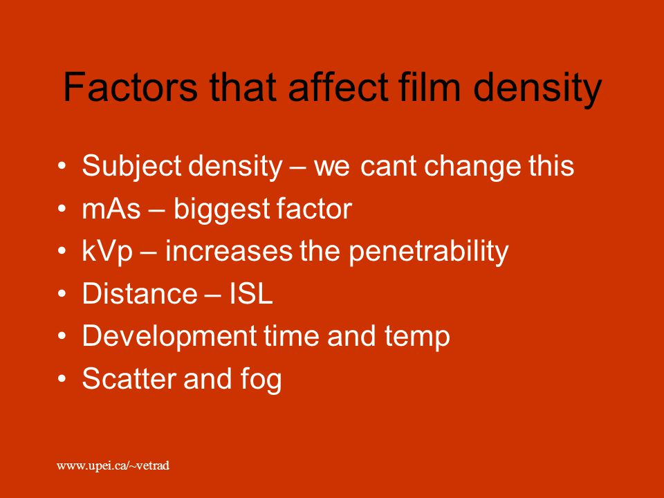 Factors that affect film density