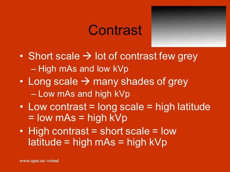 Contrast Short scale  lot of contrast few grey
