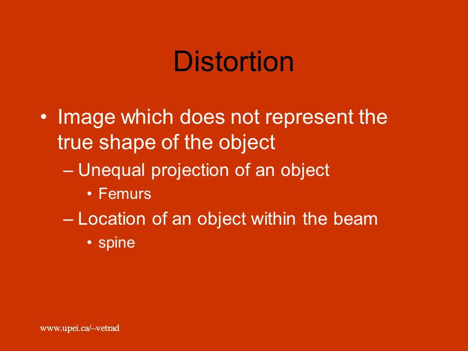 Distortion Image which does not represent the true shape of the object