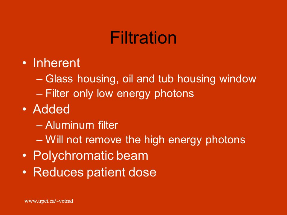 Filtration Inherent Added Polychromatic beam Reduces patient dose