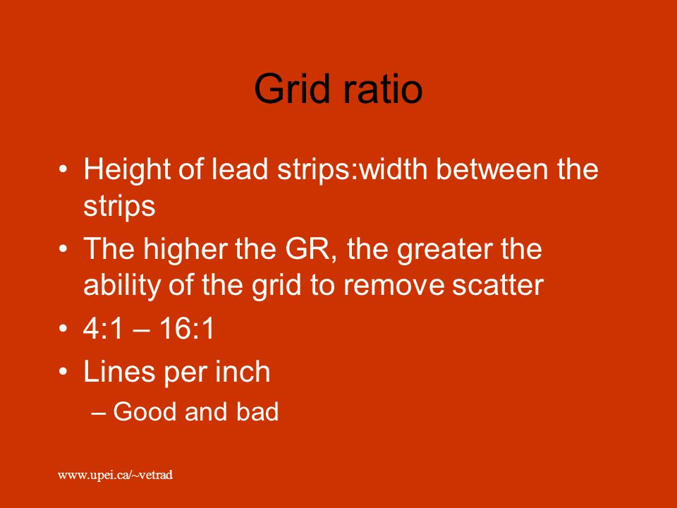 Grid ratio Height of lead strips:width between the strips