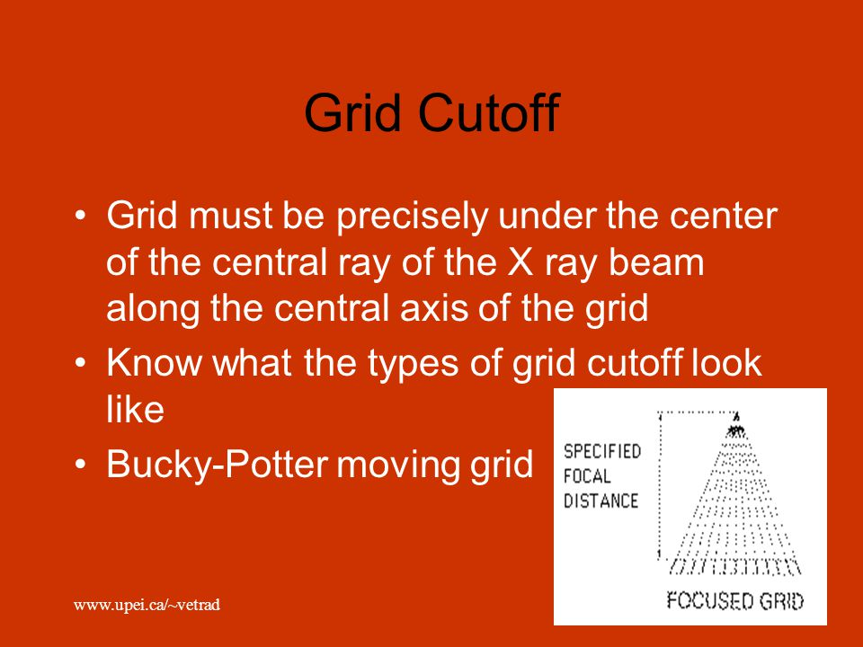 Grid Cutoff Grid must be precisely under the center of the central ray of the X ray beam along the central axis of the grid.