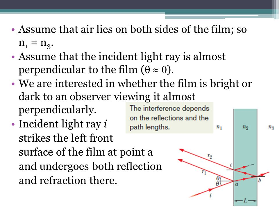 Assume that air lies on both sides of the film; so n1 = n3.