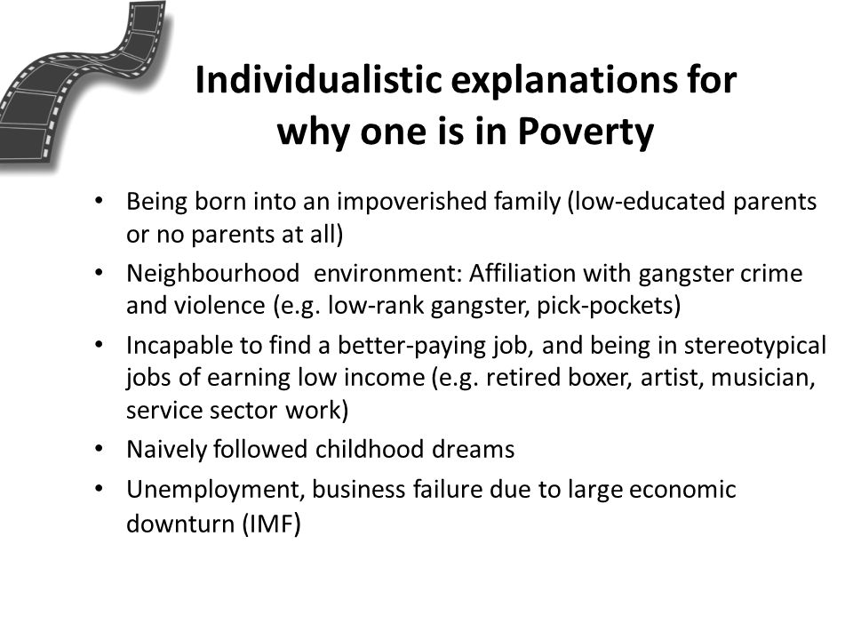 Individualistic explanations for why one is in Poverty