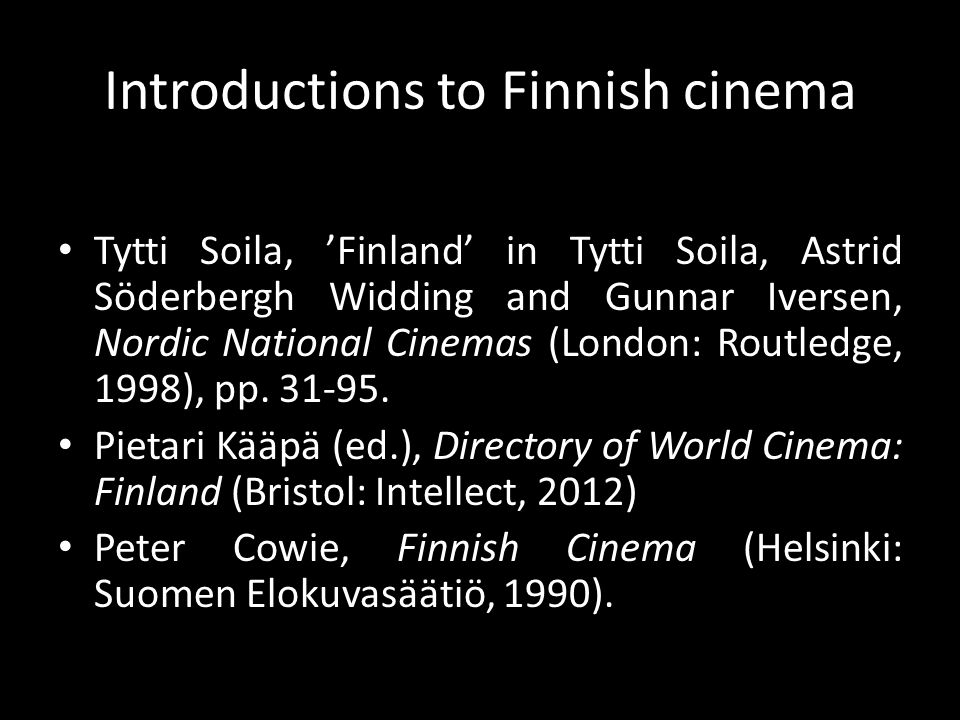 Introductions to Finnish cinema