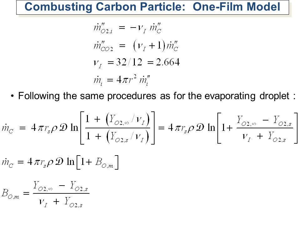 Combusting Carbon Particle: One-Film Model
