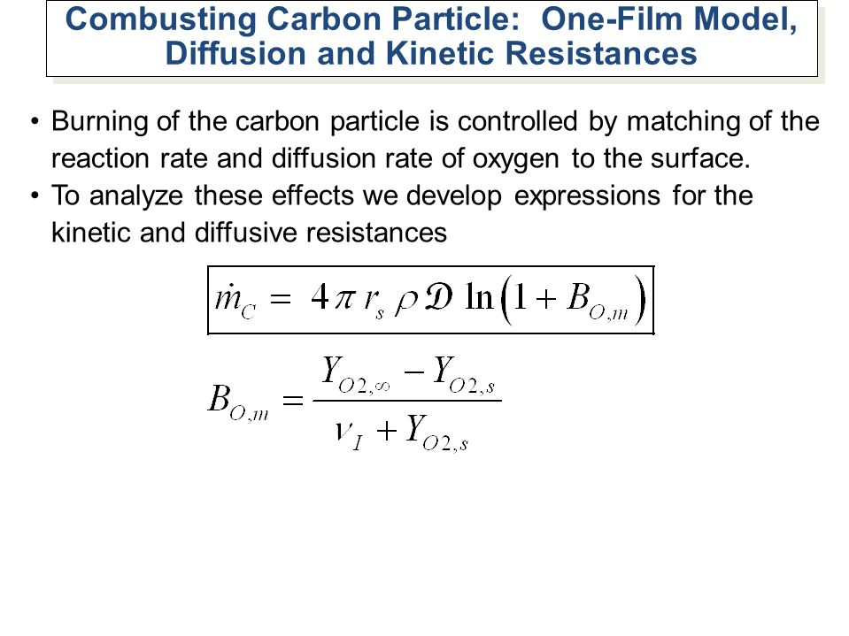 Combusting Carbon Particle: One-Film Model, Diffusion and Kinetic Resistances