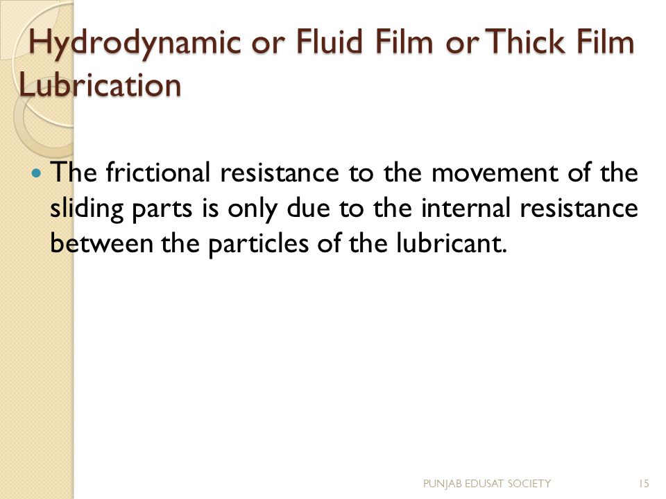 Hydrodynamic or Fluid Film or Thick Film Lubrication