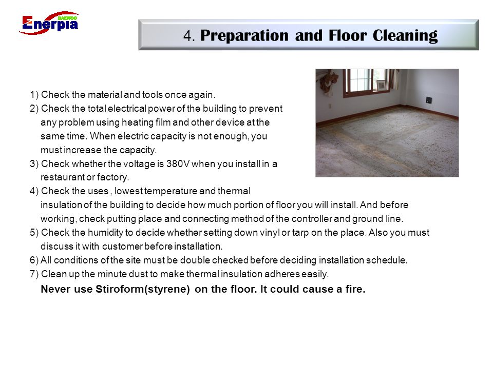 4. Preparation and Floor Cleaning
