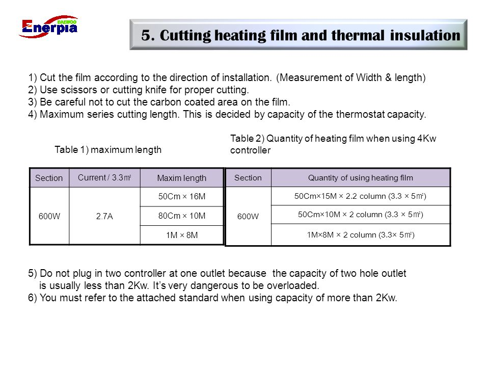 5. Cutting heating film and thermal insulation