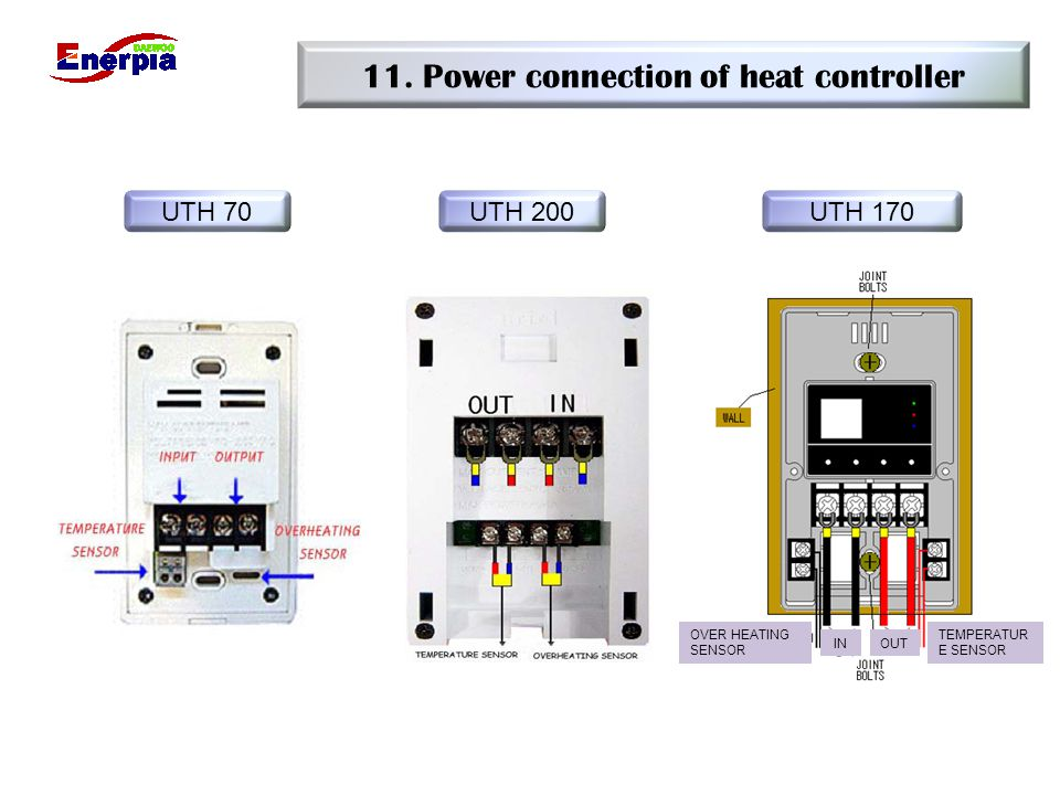 11. Power connection of heat controller