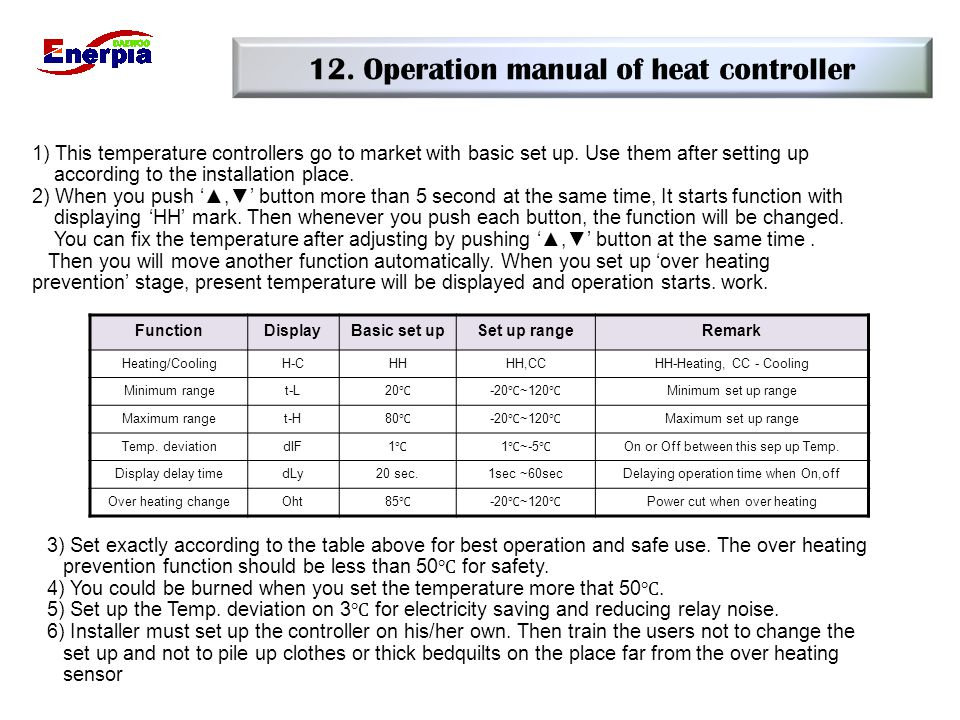 12. Operation manual of heat controller