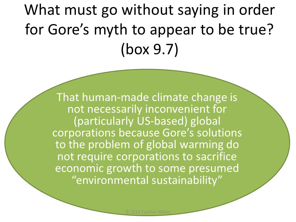 What must go without saying in order for Gore's myth to appear to be true (box 9.7)