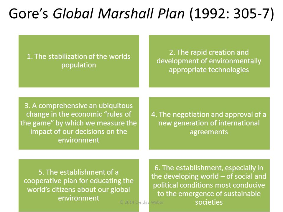 Gore's Global Marshall Plan (1992: 305-7)