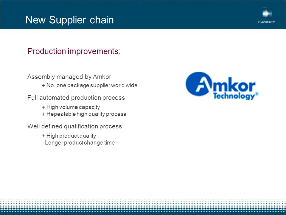 New Supplier chain Production improvements: Assembly managed by Amkor