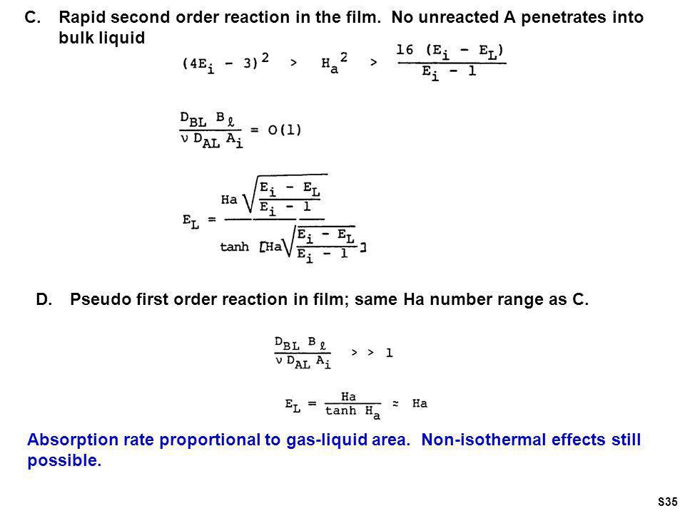 D. Pseudo first order reaction in film; same Ha number range as C.