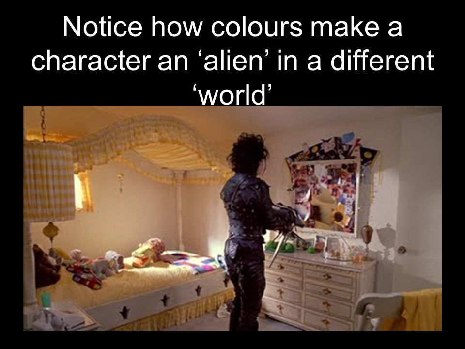 Notice how colours make a character an 'alien' in a different 'world'