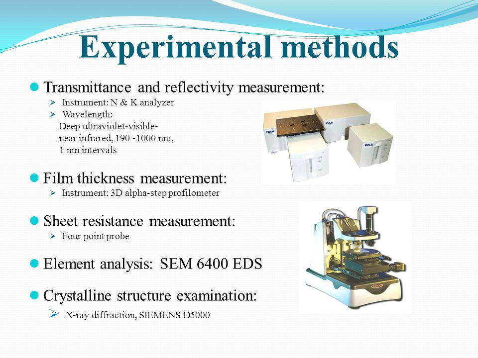 Experimental methods Transmittance and reflectivity measurement: