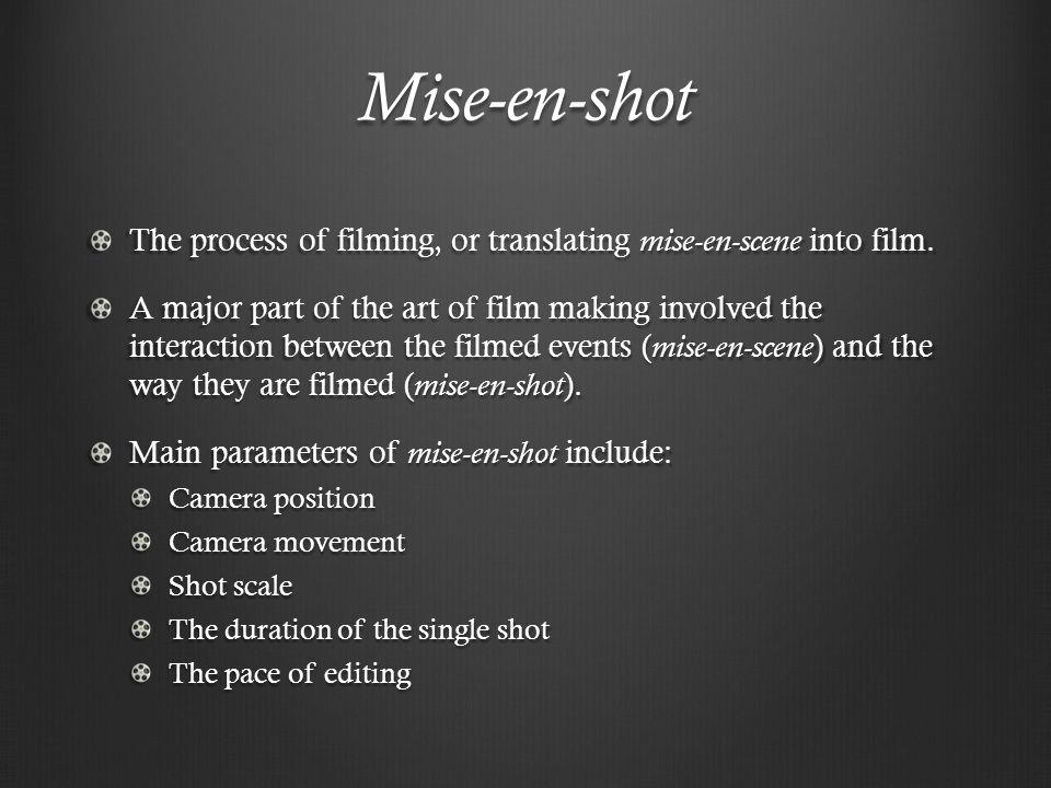 Mise-en-shot The process of filming, or translating mise-en-scene into film.