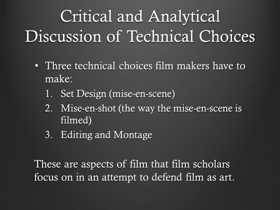 Critical and Analytical Discussion of Technical Choices