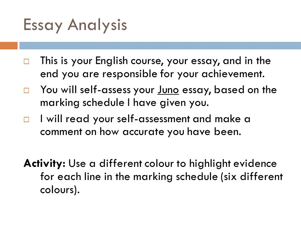 Essay Analysis This is your English course, your essay, and in the end you are responsible for your achievement.