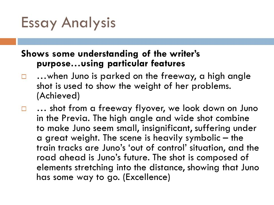 Essay Analysis Shows some understanding of the writer's purpose…using particular features.