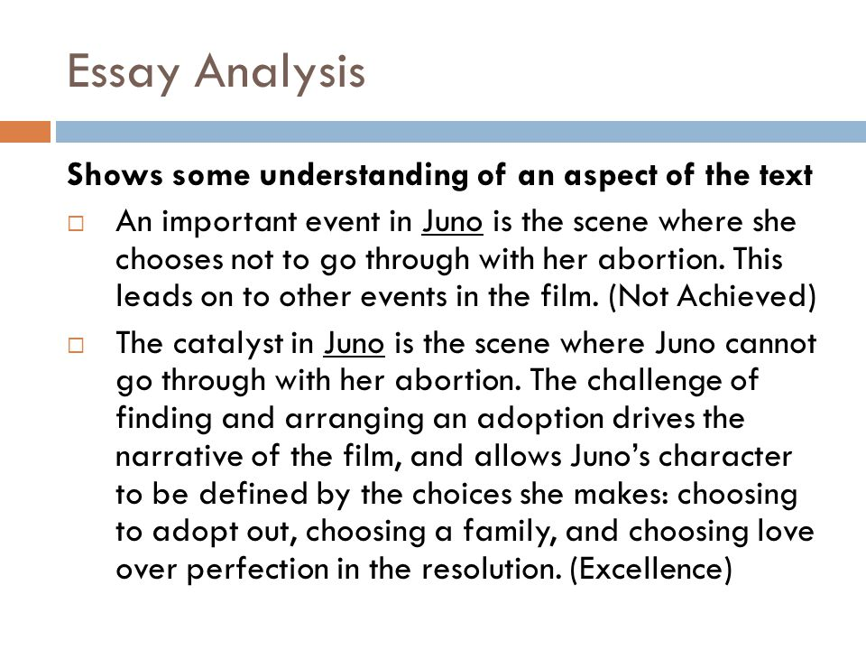 Essay Analysis Shows some understanding of an aspect of the text