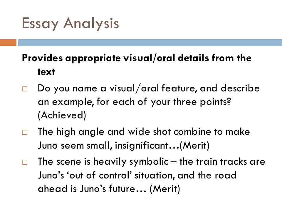 Essay Analysis Provides appropriate visual/oral details from the text