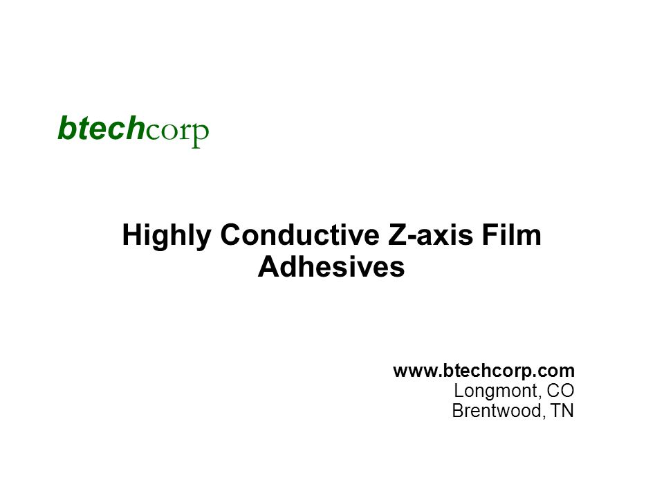 Highly Conductive Z-axis Film Adhesives