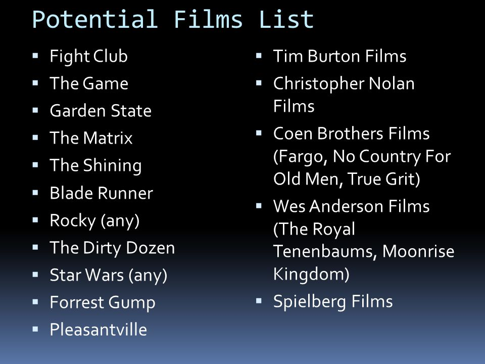Potential Films List Fight Club The Game Garden State The Matrix