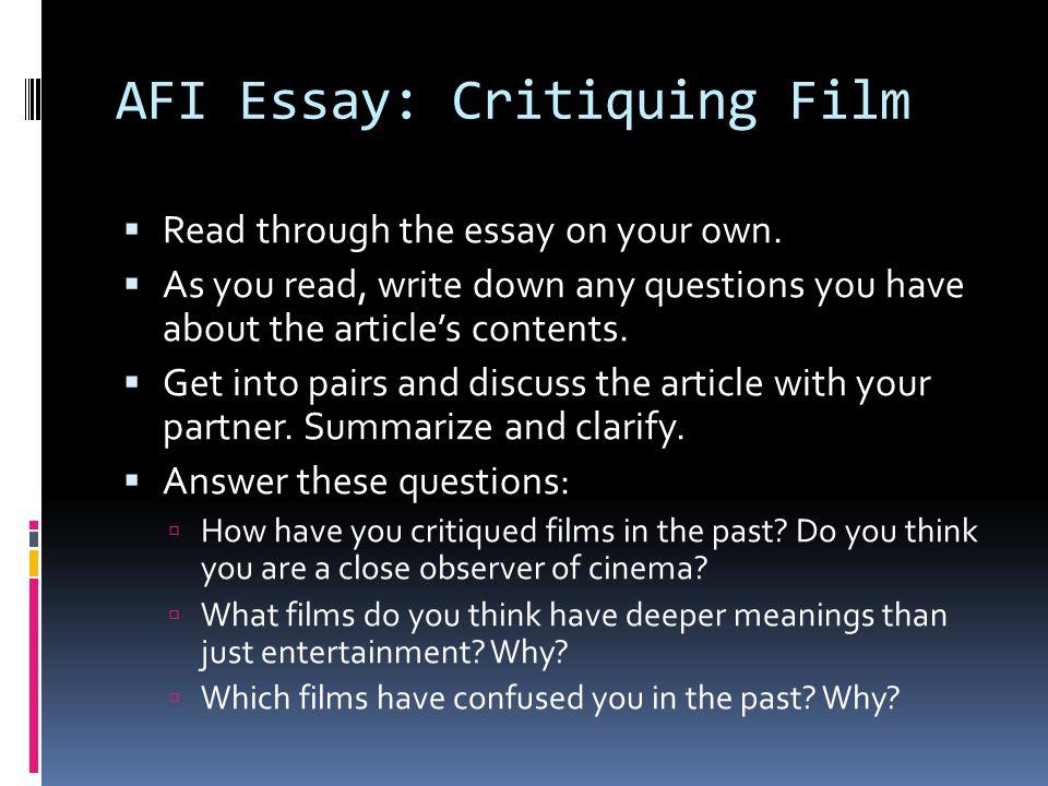 AFI Essay: Critiquing Film