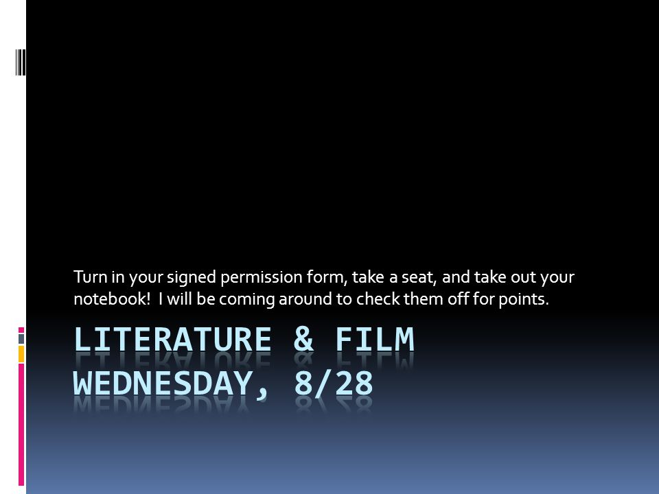 Literature & Film Wednesday, 8/28