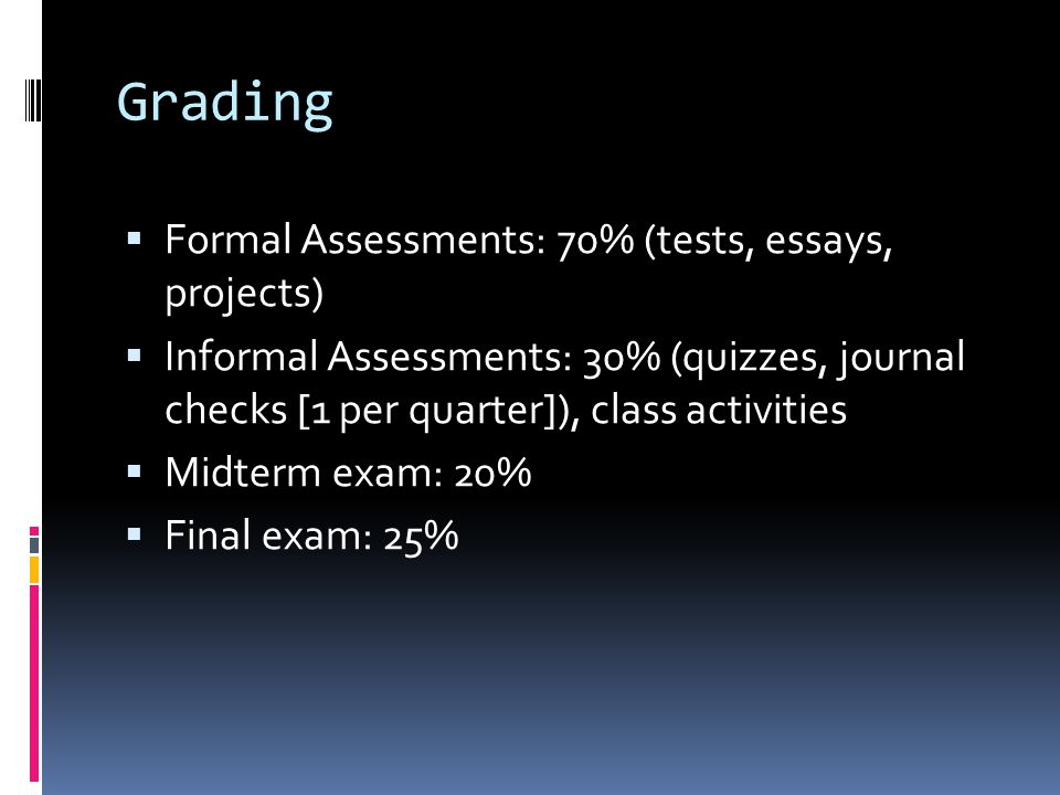 Grading Formal Assessments: 70% (tests, essays, projects)