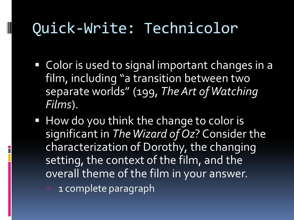Quick-Write: Technicolor