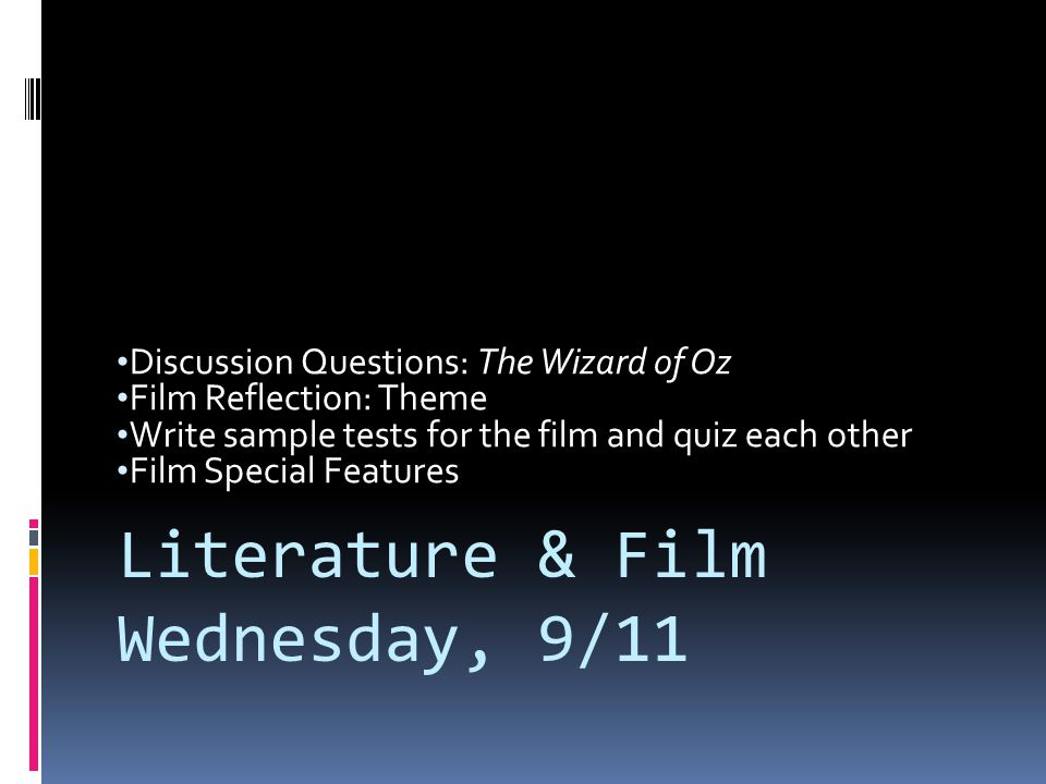Literature & Film Wednesday, 9/11