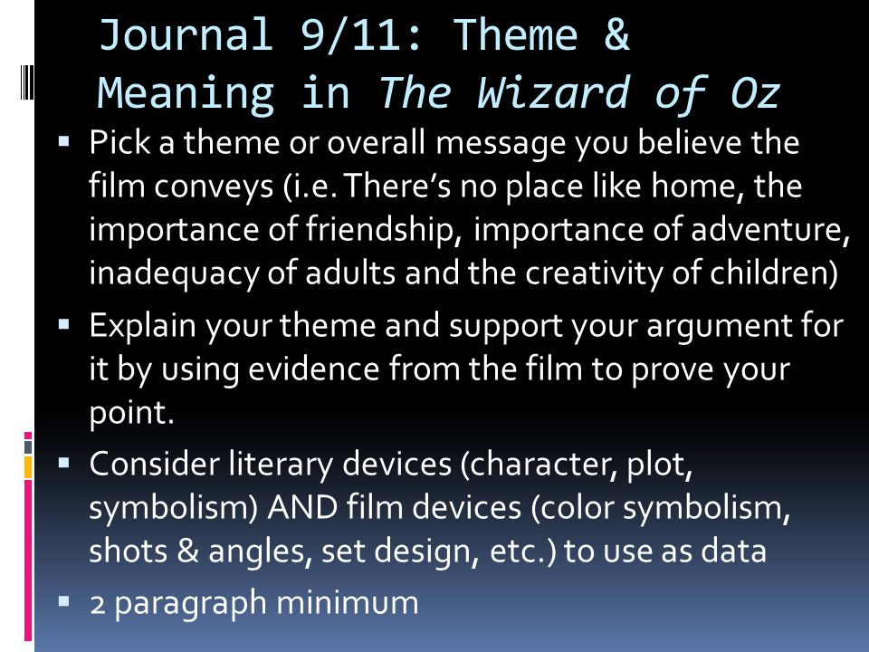 Journal 9/11: Theme & Meaning in The Wizard of Oz