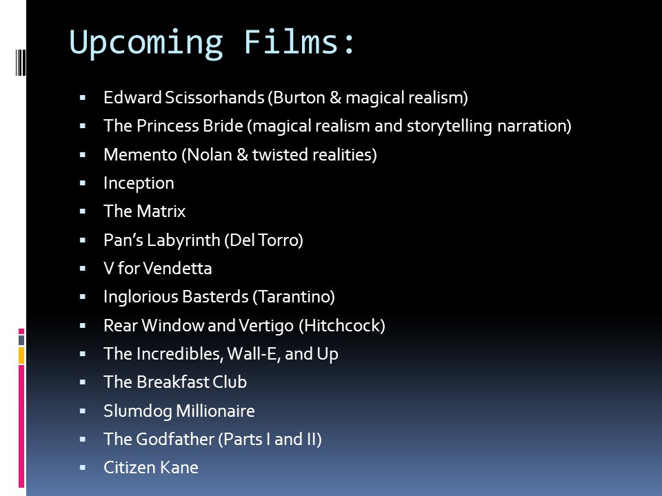 Upcoming Films: Edward Scissorhands (Burton & magical realism)