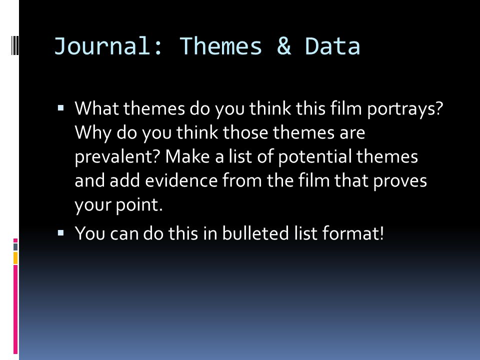 Journal: Themes & Data