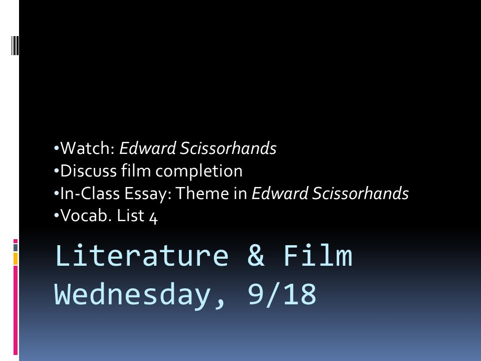 Literature & Film Wednesday, 9/18