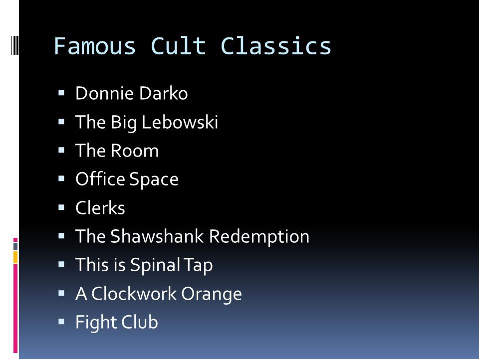 Famous Cult Classics Donnie Darko The Big Lebowski The Room