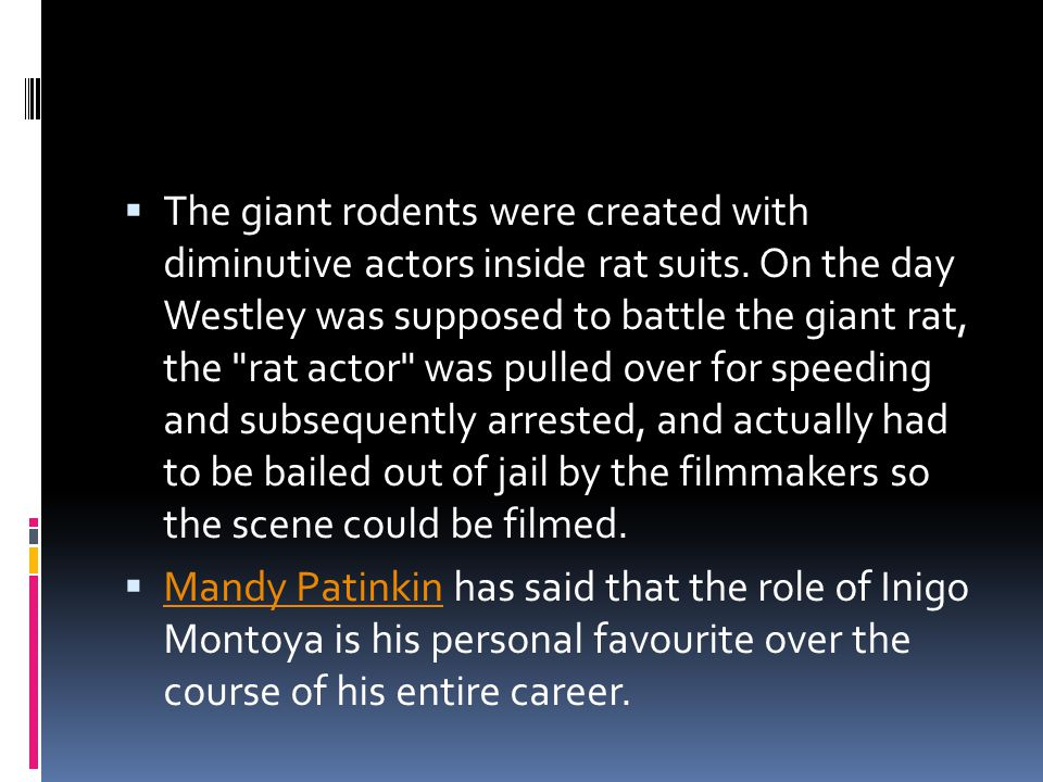 The giant rodents were created with diminutive actors inside rat suits