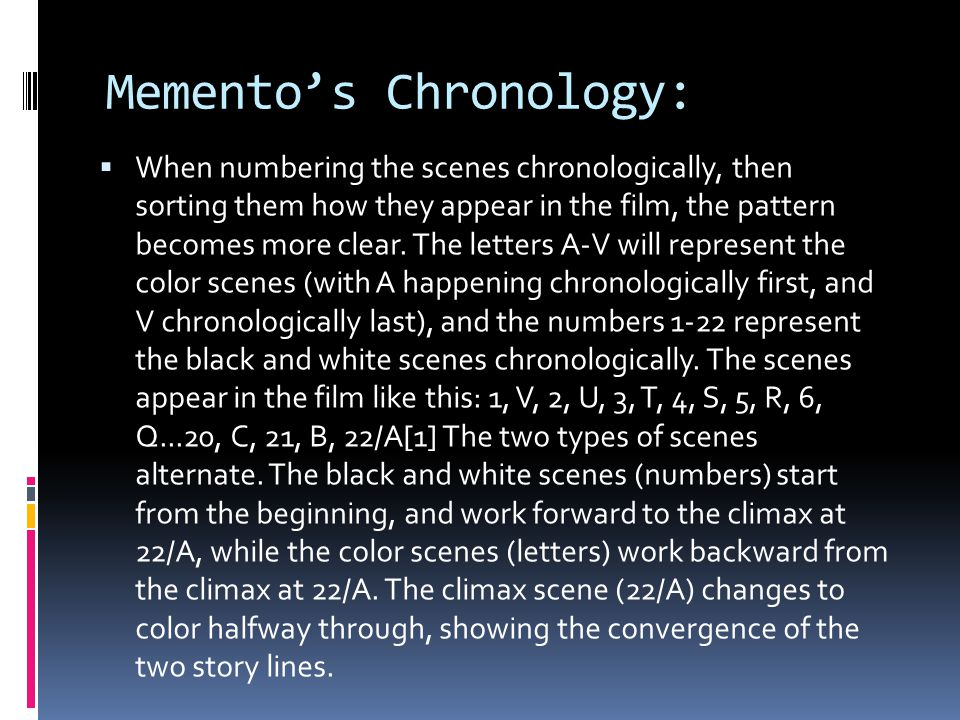 Memento's Chronology: