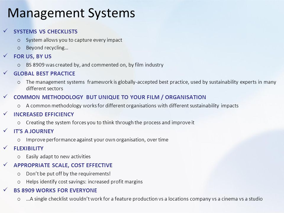 Management Systems SYSTEMS VS CHECKLISTS FOR US, BY US