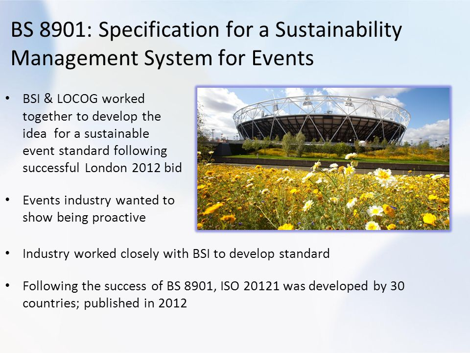 BS 8901: Specification for a Sustainability Management System for Events