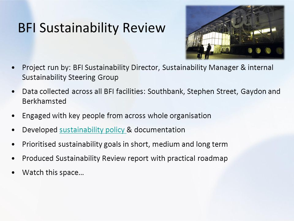 BFI Sustainability Review