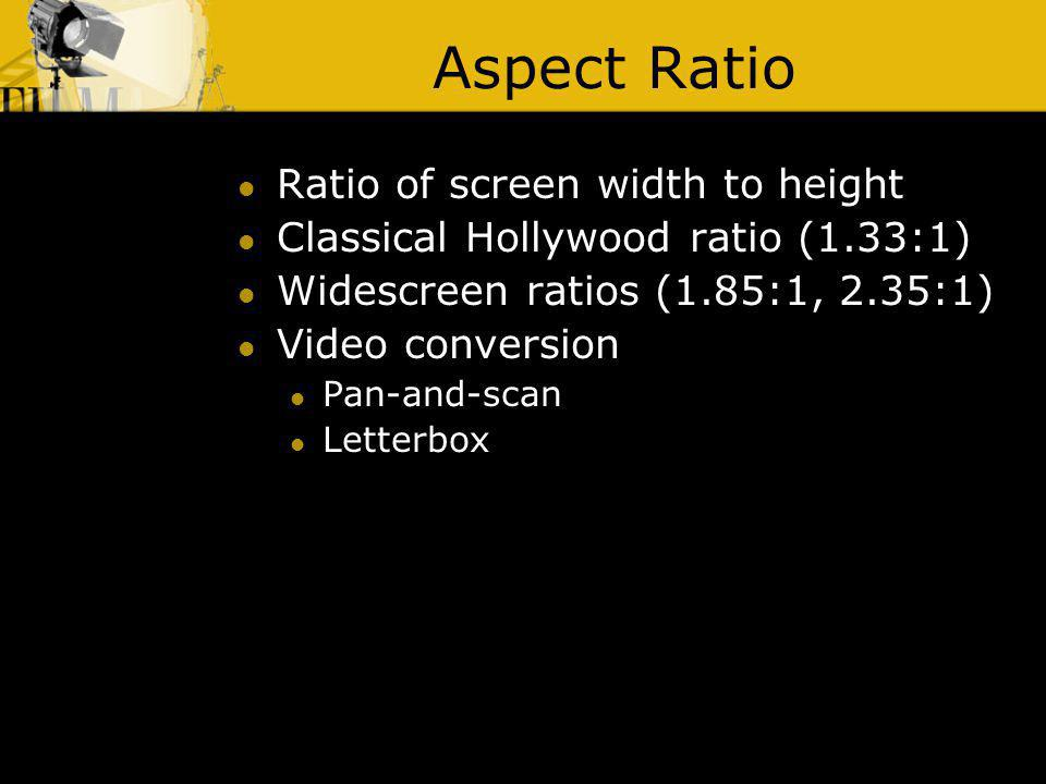 Aspect Ratio Ratio of screen width to height