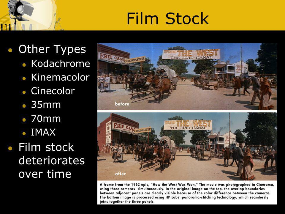 Film Stock Other Types Film stock deteriorates over time Kodachrome